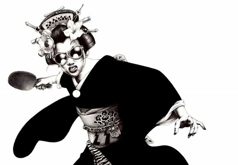 geisha qui joue au ping pong
