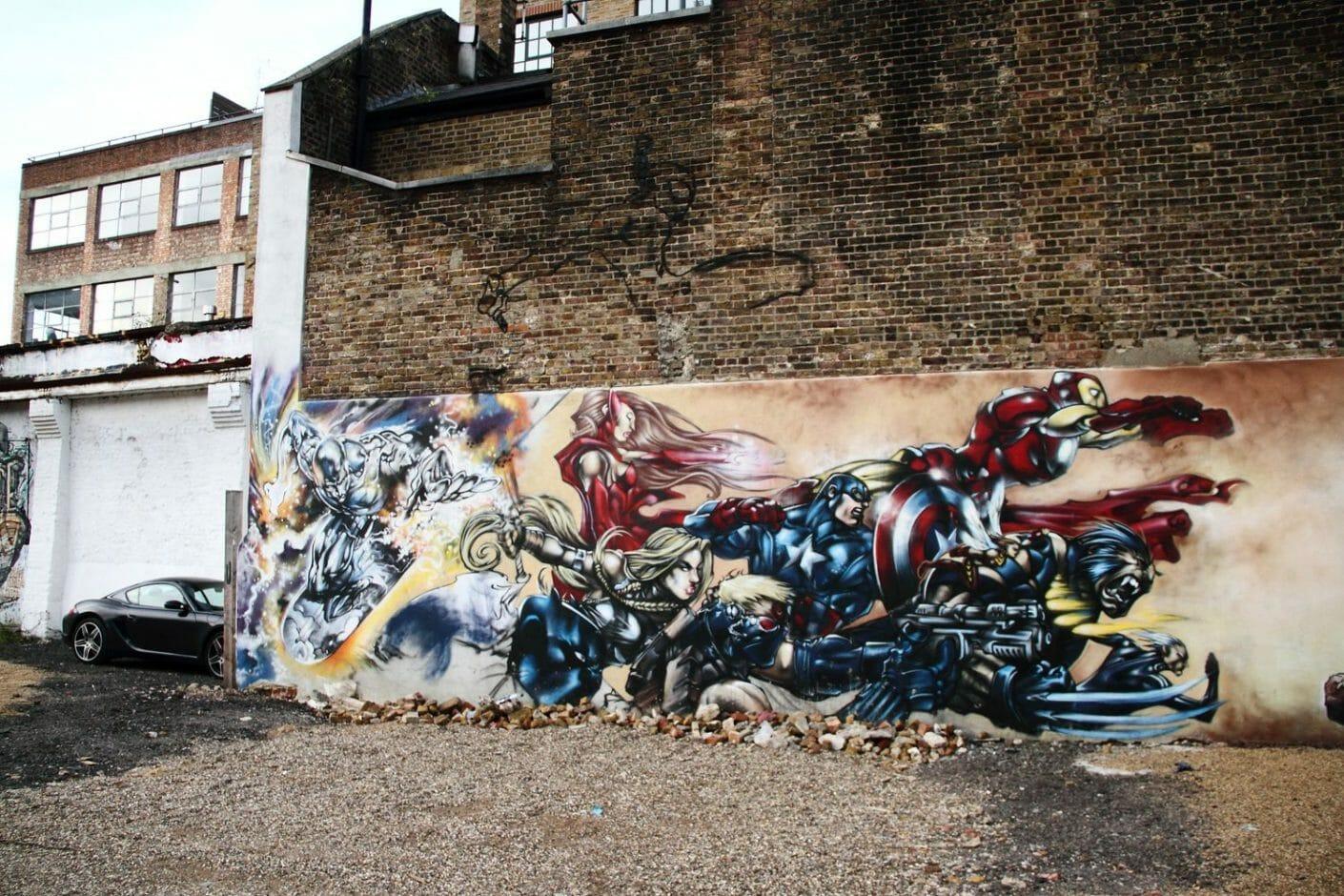 avengers street art x xmen
