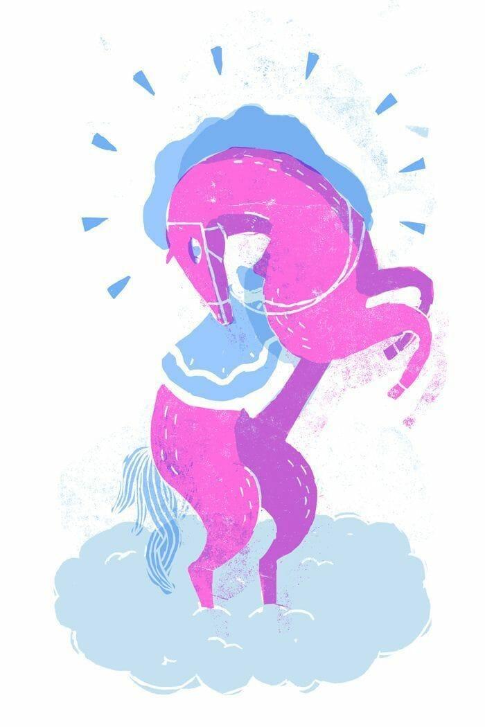 illustration cheval rose