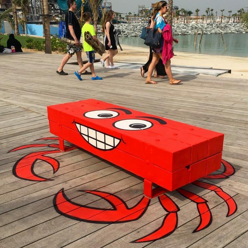 Tom Bob, street art, crabe