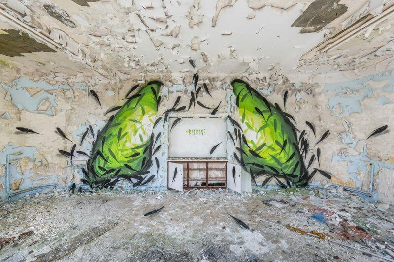 Wastelands oeuvre de street art en urbex