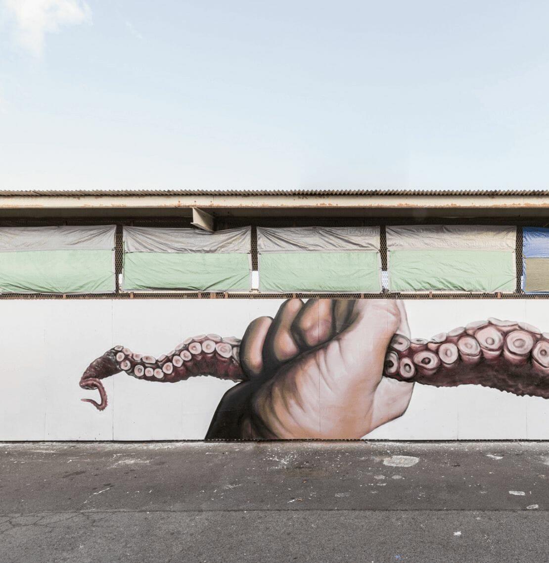 œuvre street art poulpe