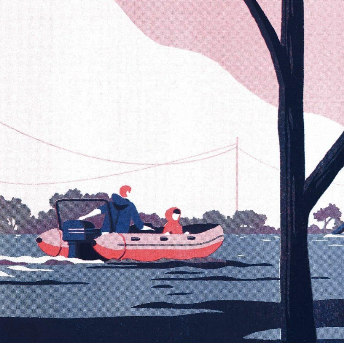 Bateau sur une rivière - - illustration d'un paysage réalisée par Tom Haugomat