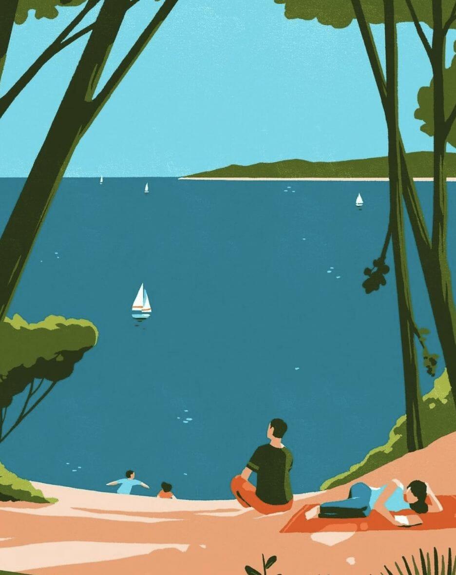 Bord de plage - illustration d'un paysage réalisée par Tom Haugomat