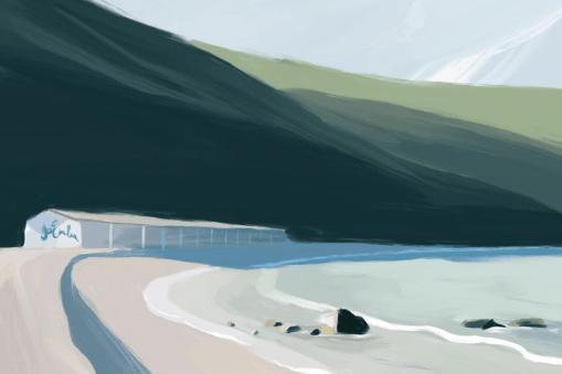 Illustration d'une plage par Kristen Boydstun