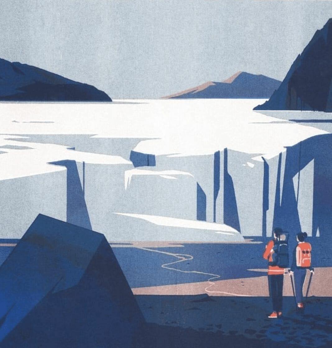 Glaciers - - illustration d'un paysage réalisée par Tom Haugomat