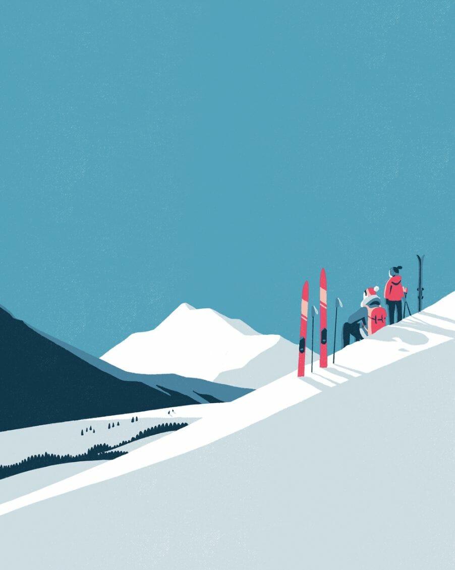Sports d'hiver - - illustration d'un paysage réalisée par Tom Haugomat