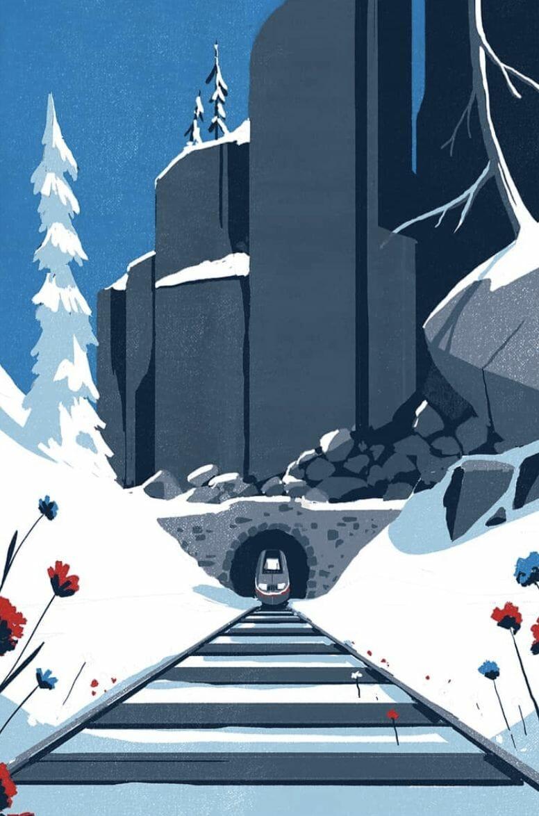 Train en hiver - - illustration d'un paysage réalisée par Tom Haugomat
