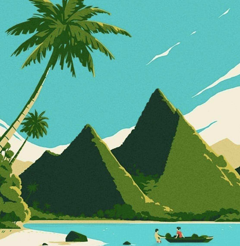 ile paradisiaque - - illustration d'un paysage réalisée par Tom Haugomat