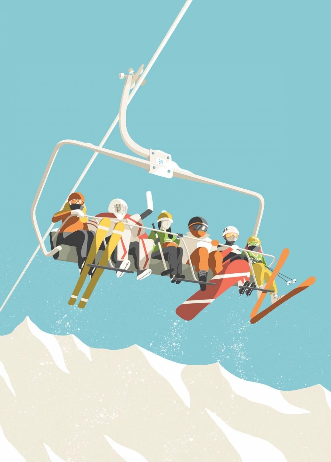 Illustration d'un télésiège par Kristen Boydstun