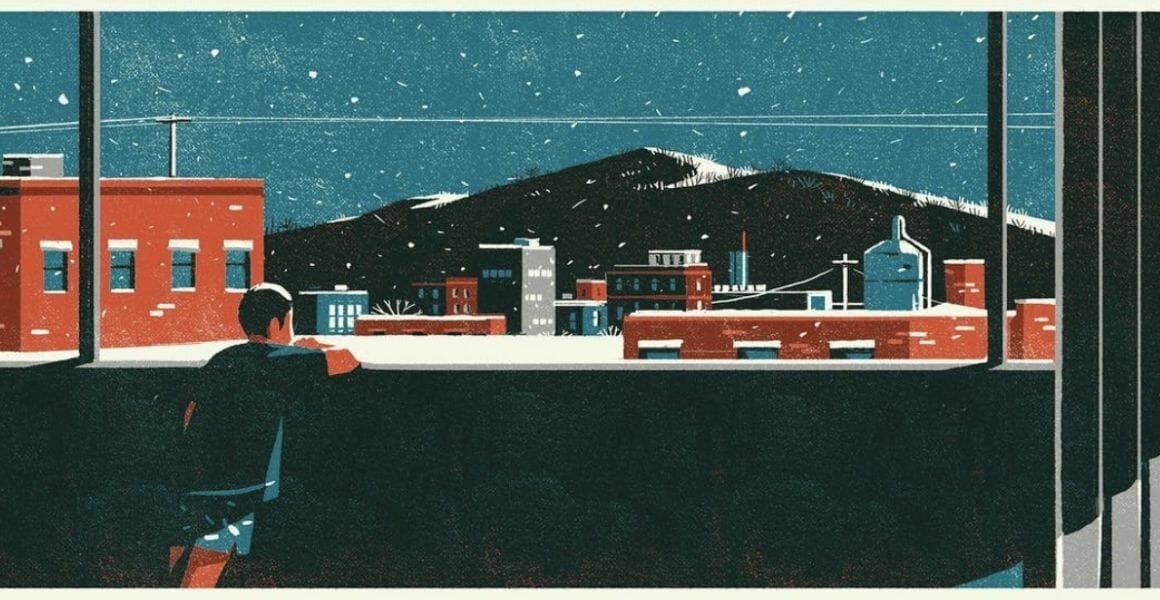 Journée de neige - - illustration d'un paysage réalisée par Tom Haugomat