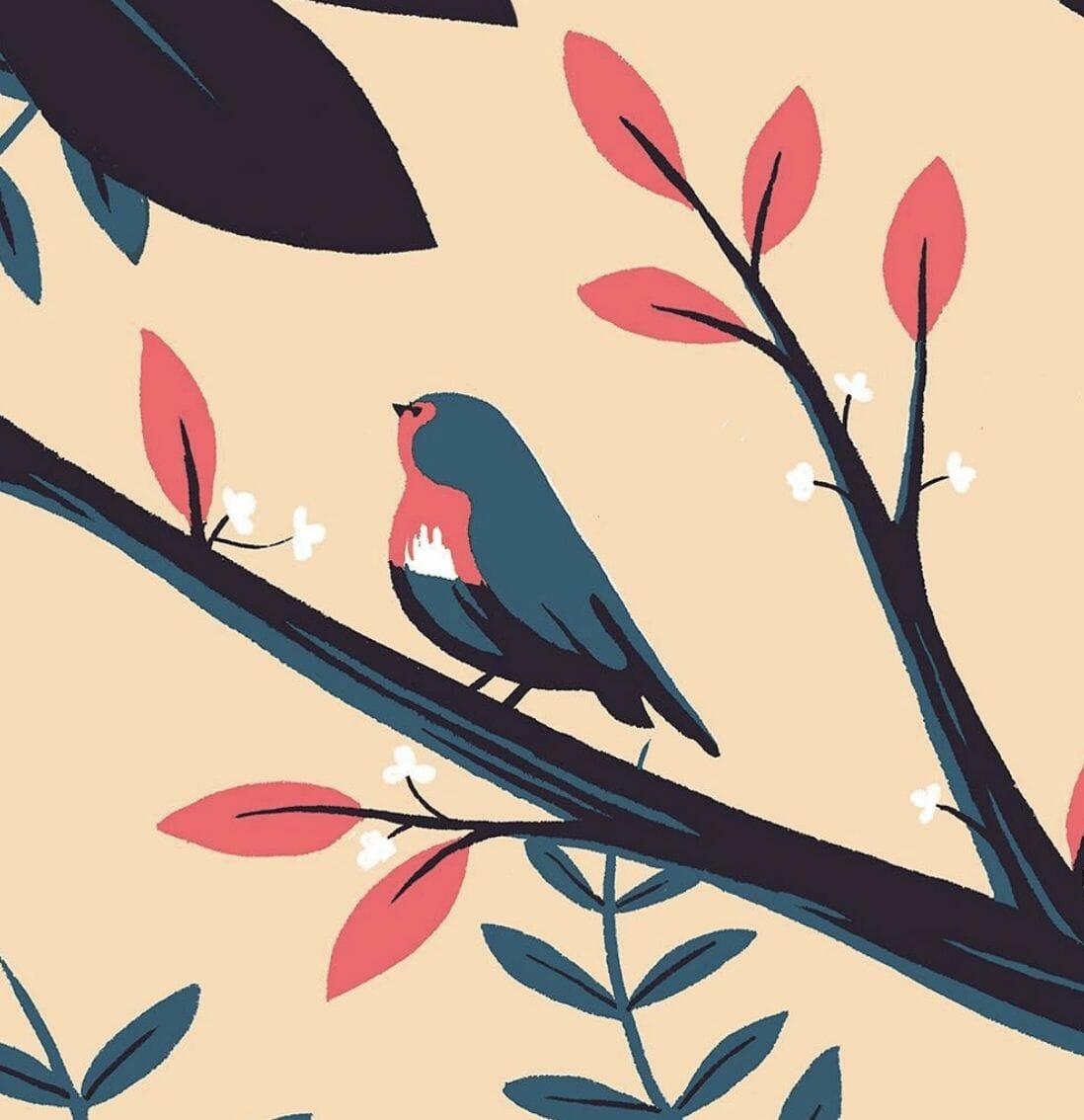 oiseau - - illustration d'un paysage réalisée par Tom Haugomat