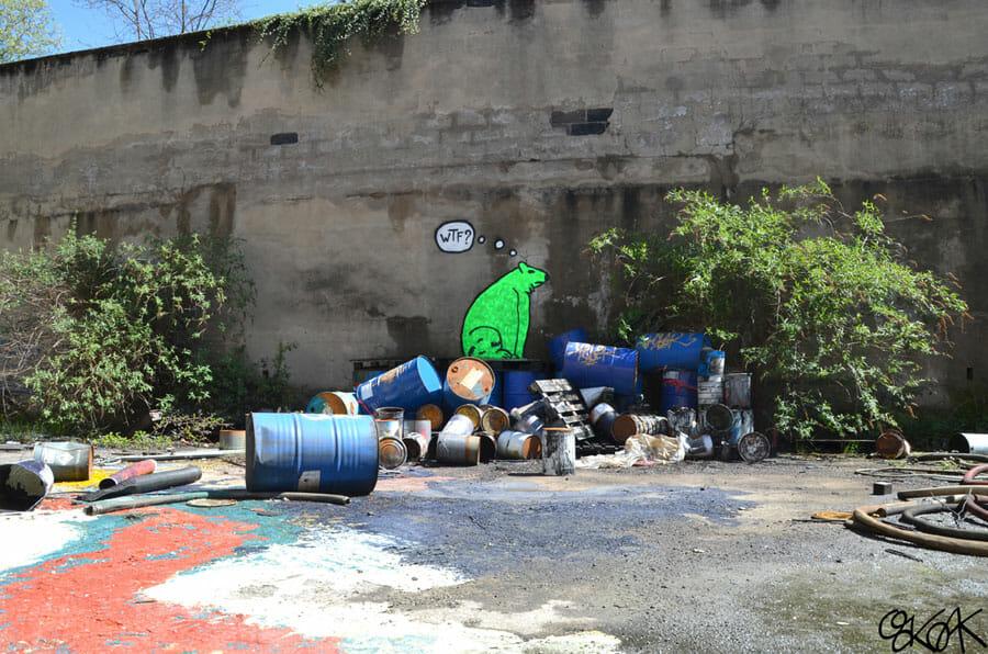 Ours vert - peinture réalisée par OakOak