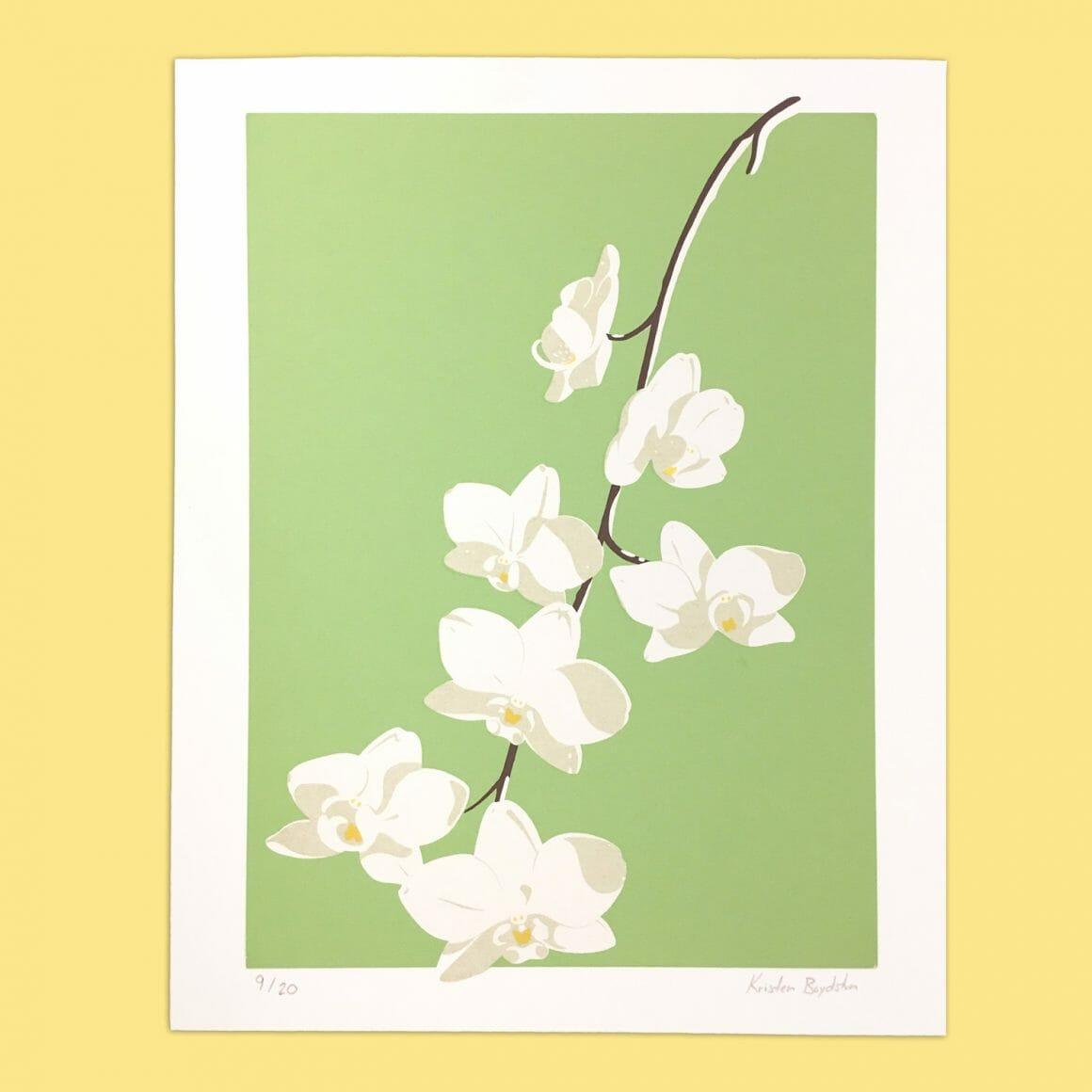 Illustration d'une orchidée par Kristen Boydstun