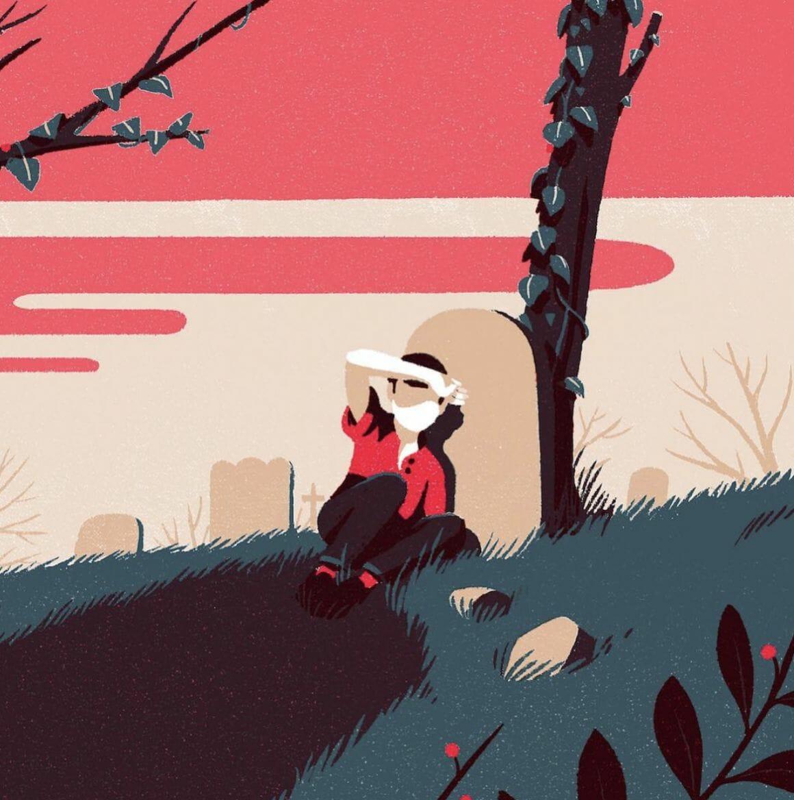 Paysage avec couché de soleil - illustration d'un paysage réalisée par Tom Haugomat