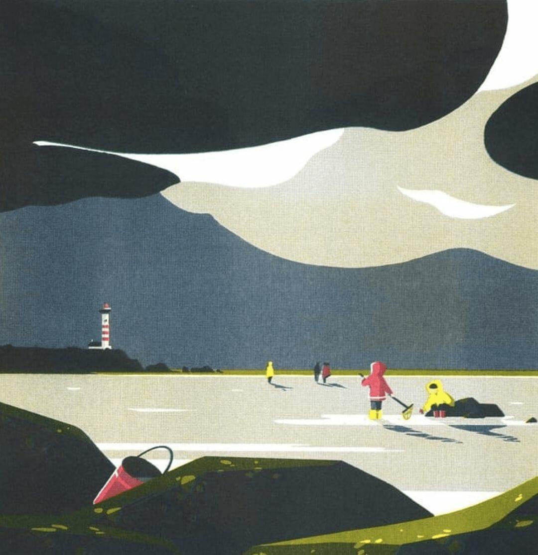 Pêche à la plage - illustration d'un paysage réalisée par Tom Haugomat