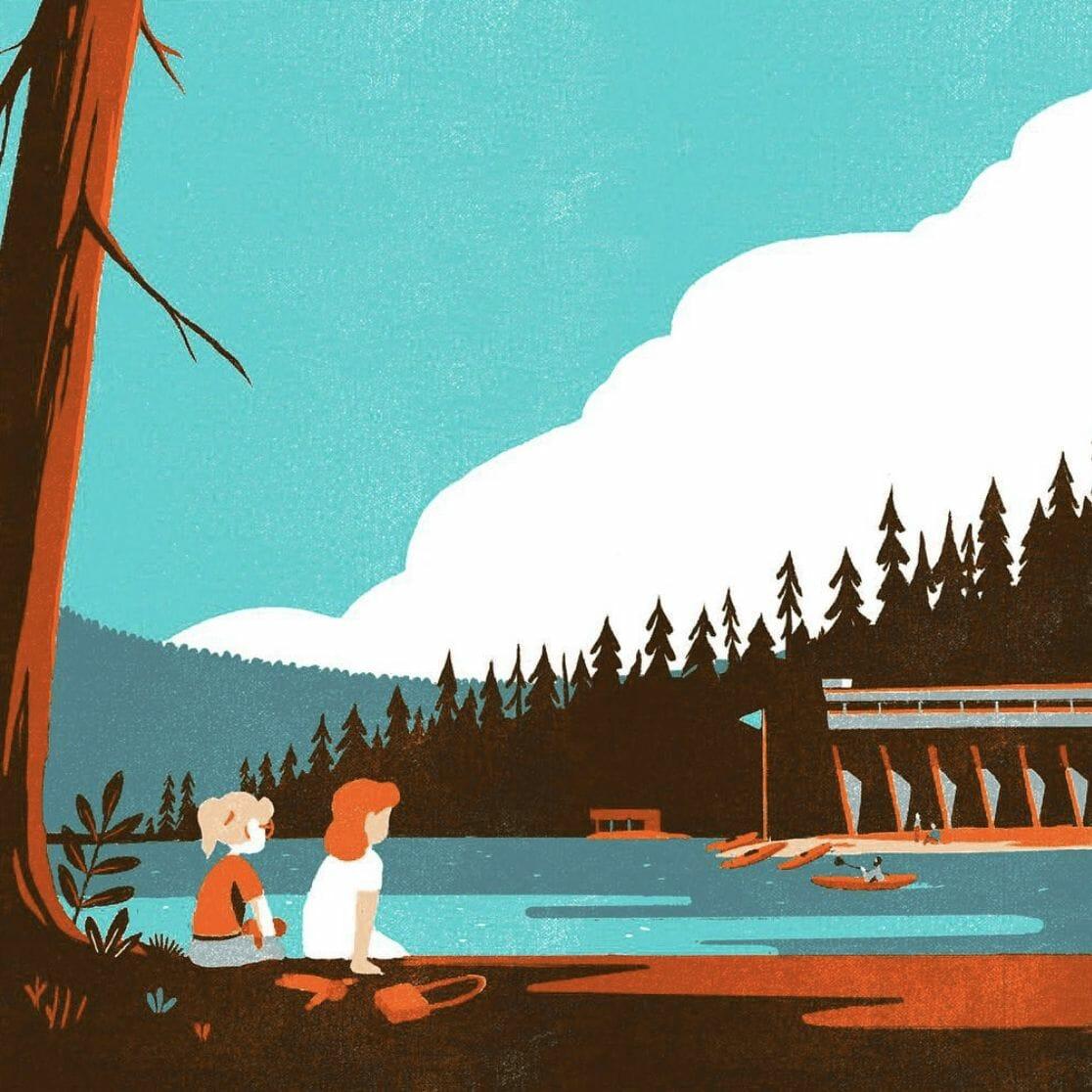 Pêche près d'un étang - illustration d'un paysage réalisée par Tom Haugomat