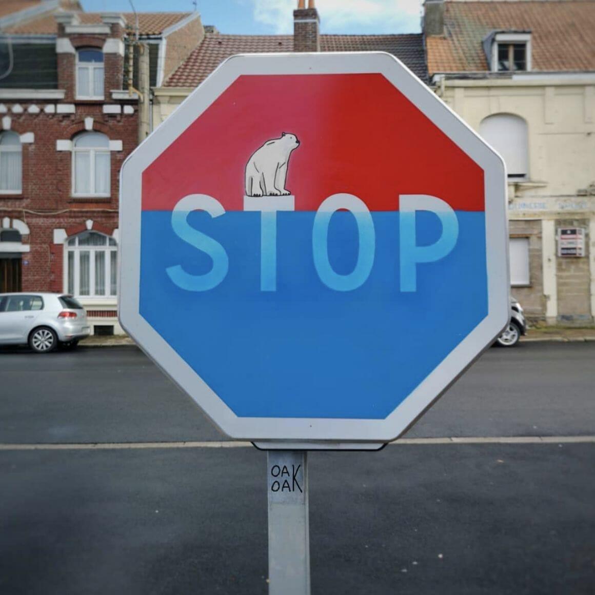 STOP - peinture réalisée par OakOak