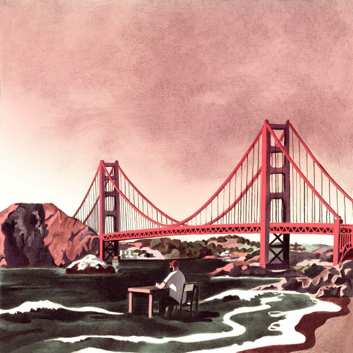 pont de Fan Francisco, golden gate dessin par Antoine Maillard