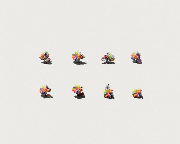 dessin de 8 vendeurs de ballons