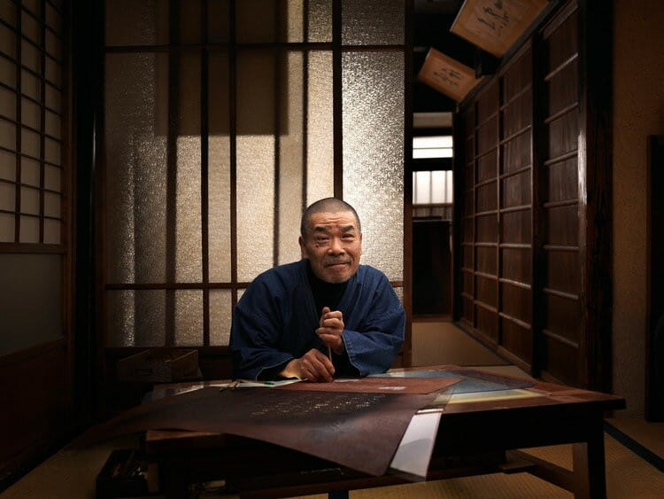 Portrait de Takeshi Nishimura, fabricant de kimonos, photographié par Roman Jehanno