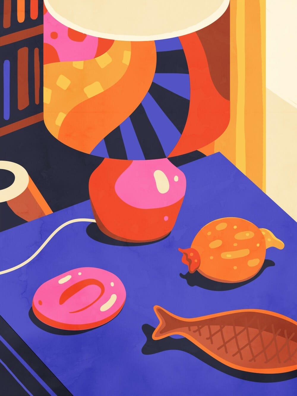 Illustration d'un intérieur réalisée par Petra Eriksson