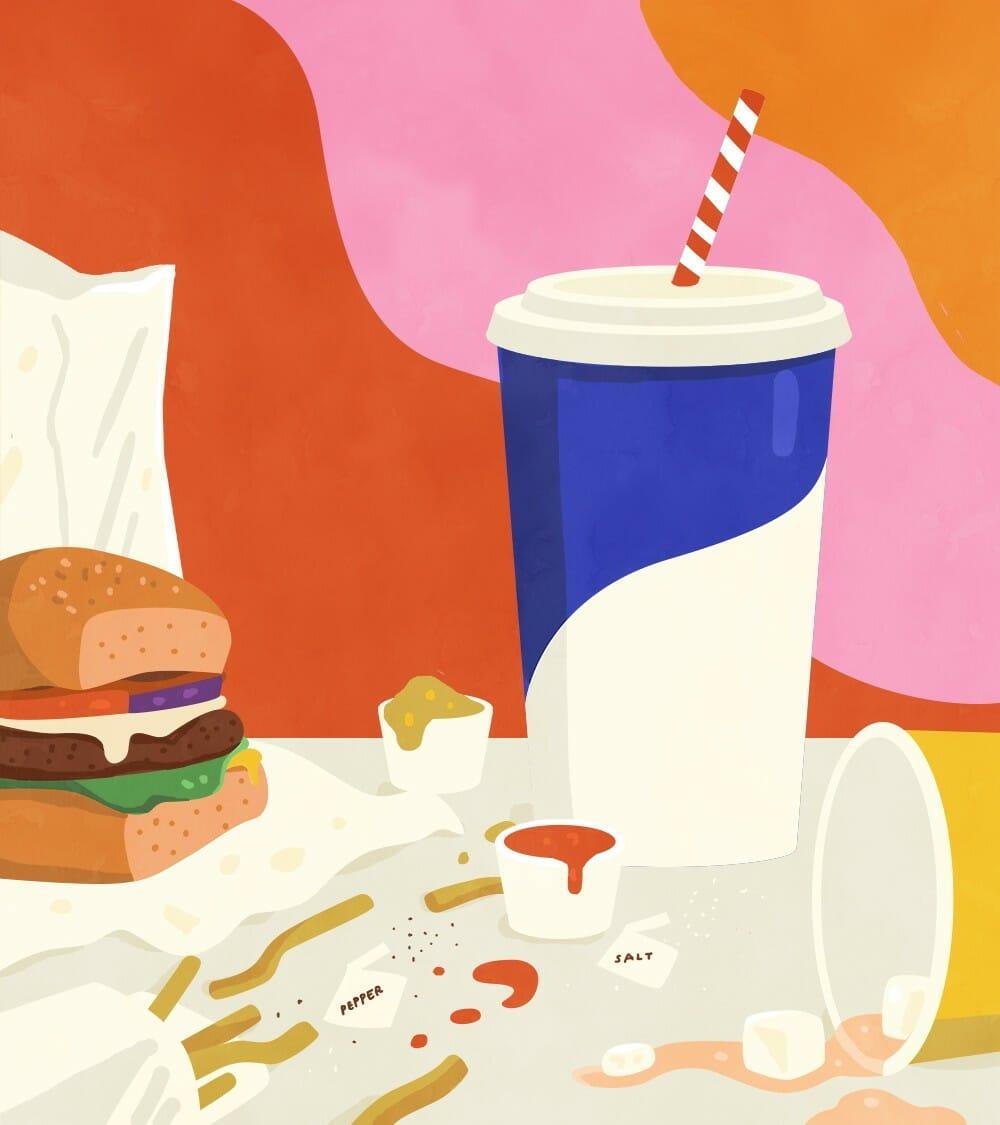 Illustration d'un repas réalisée par Petra Eriksson