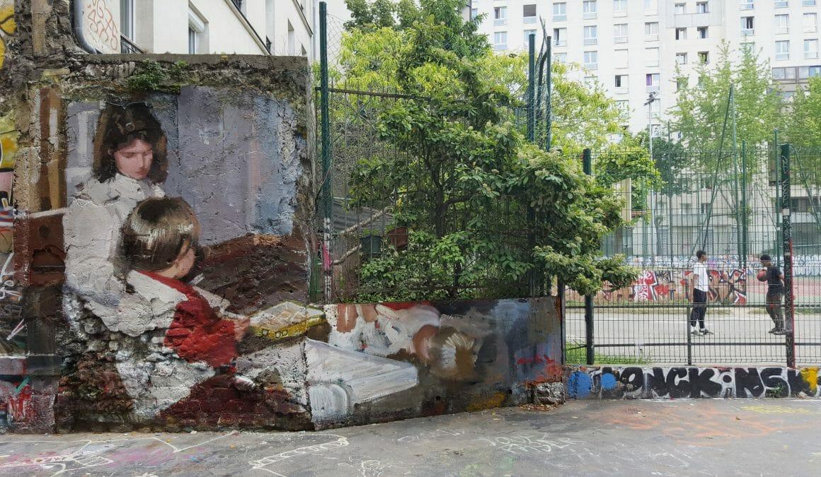 peinture murale réalisée par Mohamed L'Ghacham représentant une jeune fille