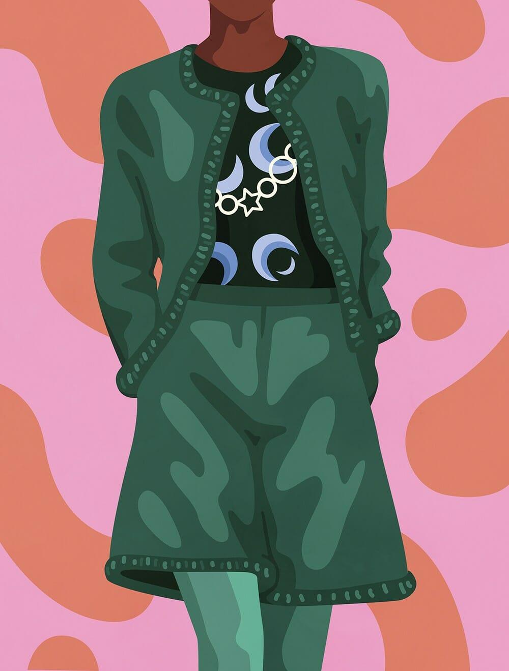 Illustration d'une tenue Chanel réalisée par Petra Eriksson