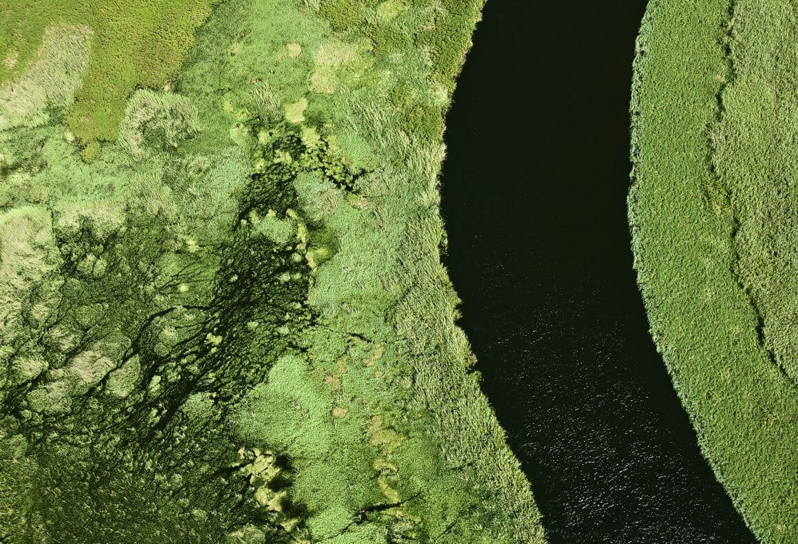 Vue aérienne d'un paysage au Botswana, verdure, rivière