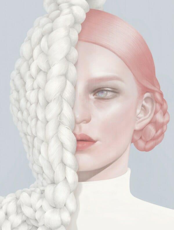 Fille cheveux roses et laine dessin et illustration par Hsiao-Ron Cheng