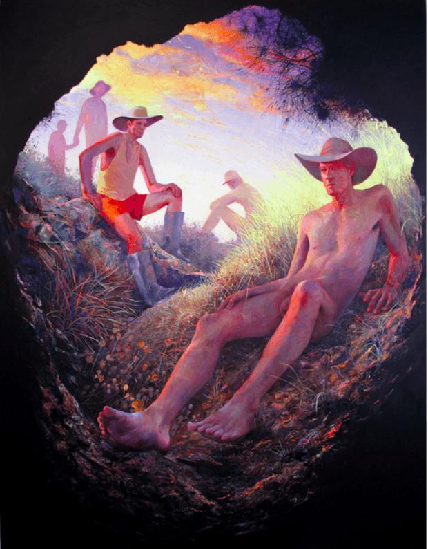 des hommes dans les champs peints par Robin F Williams