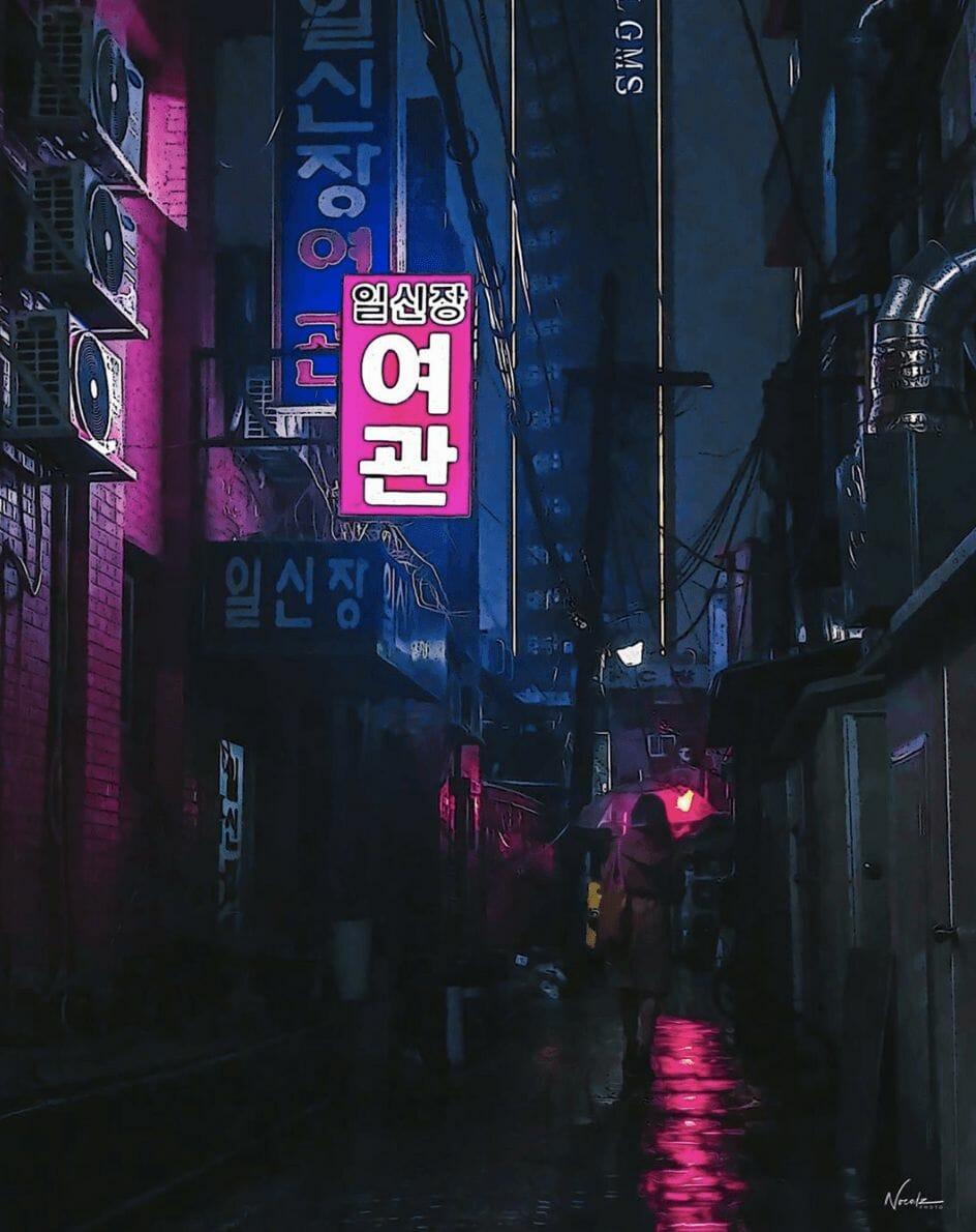 Photographie réalisée par Noé Alonzo illustrant une petite rue à Séoul