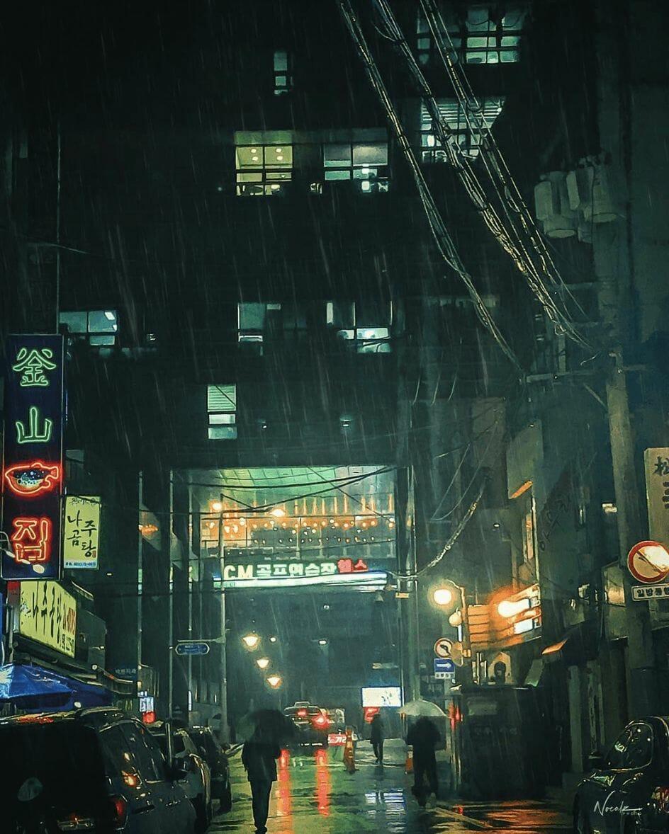 Photographie réalisée par Noé Alonzo illustrant un quartier fréquenté de Séoul