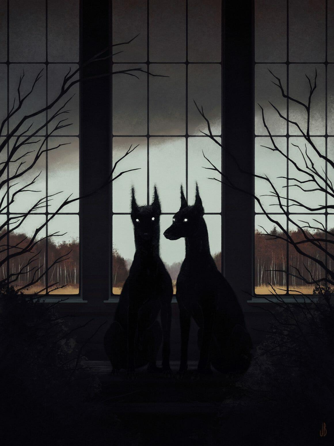 Deux chiens dessinés par Jenna Barton