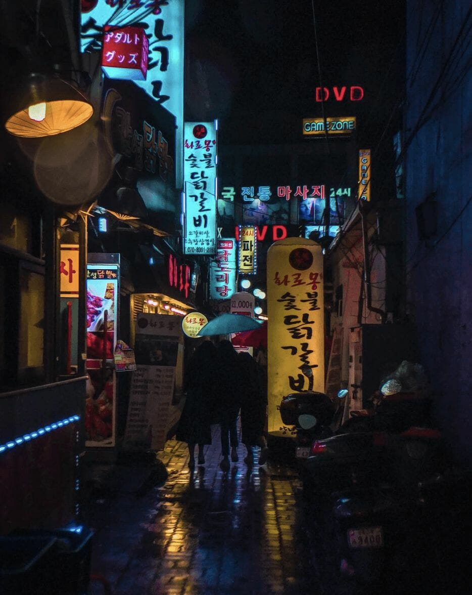 Photographie réalisée par Noé Alonzo illustrant des boutiques à Séoul
