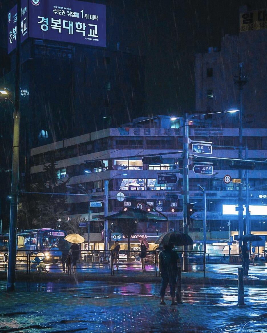 Photographie réalisée par Noé Alonzo illustrant un quartier de Séoul