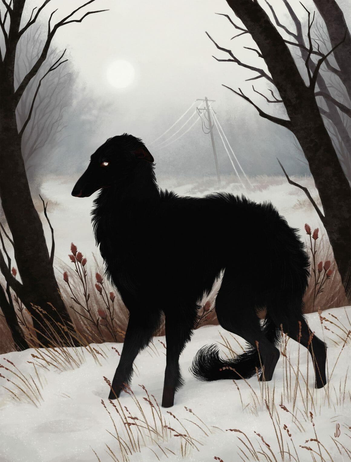 Jenna Barton chien dans la neige