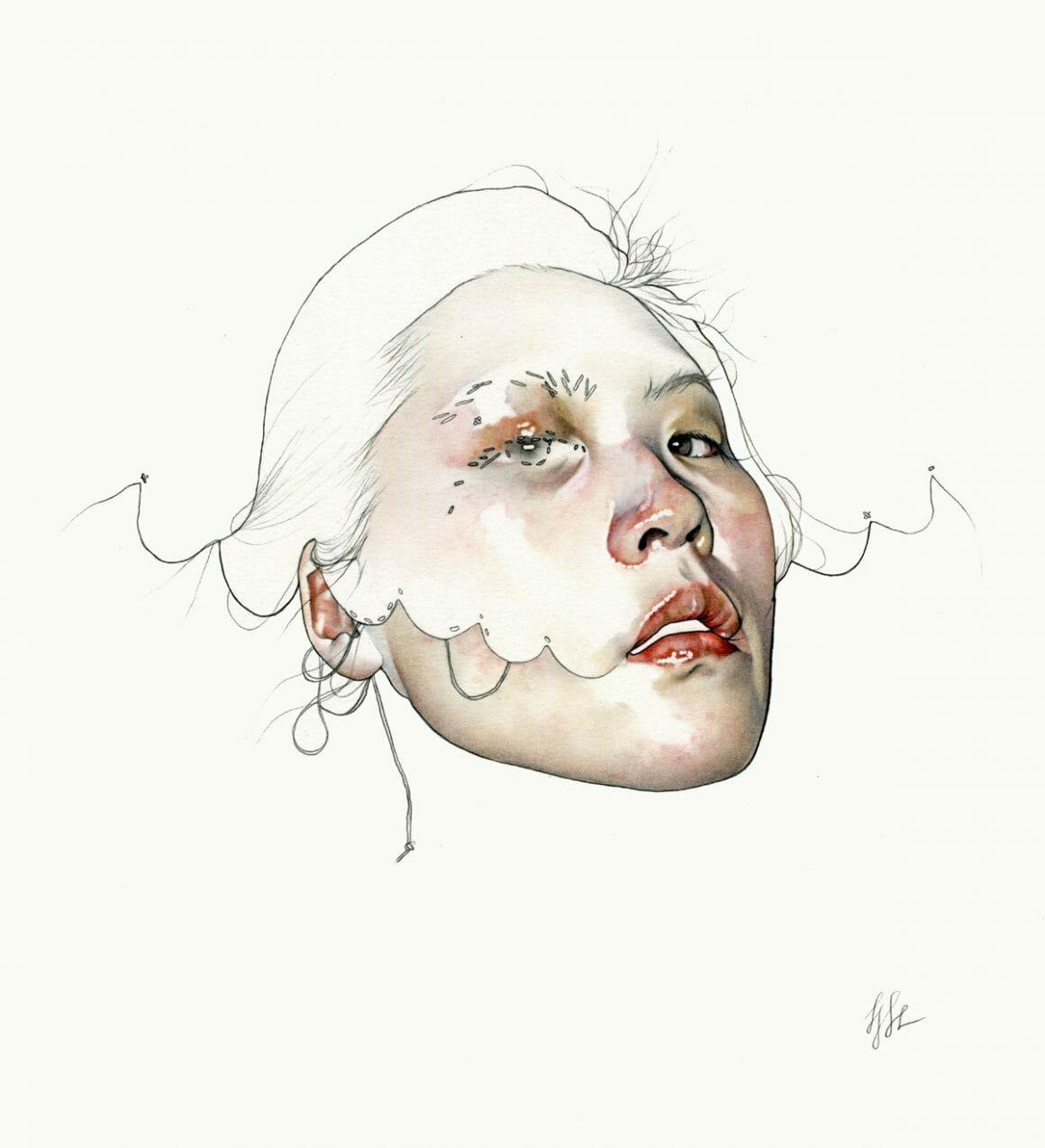 Haejung Lee visage cousu illustration
