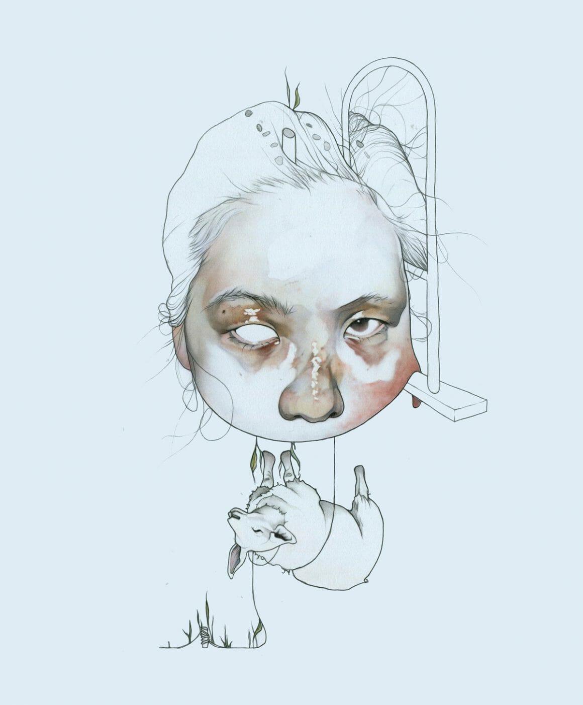 un dessin sur fond bleu de Haejung Lee