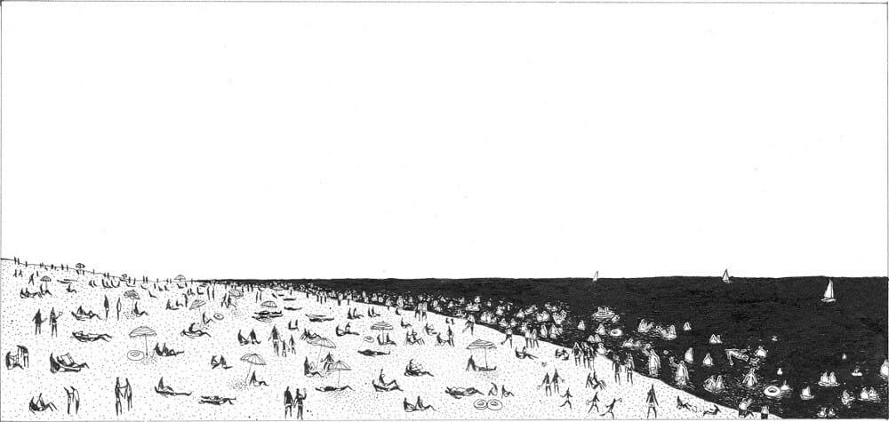 la plage, dessin par Clément Masurier