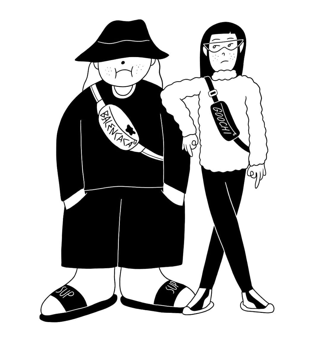 Deux personnages Fashion addict en Balencaca et Goochi.