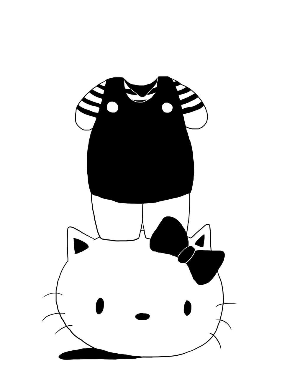 Hello Kitty absurde qui marche sur sa propre tête.