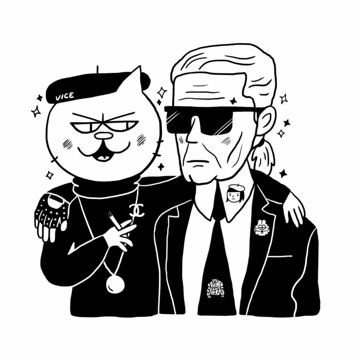 Karl Lagerfeld et sa chatte Choupette griffée en Chanel.