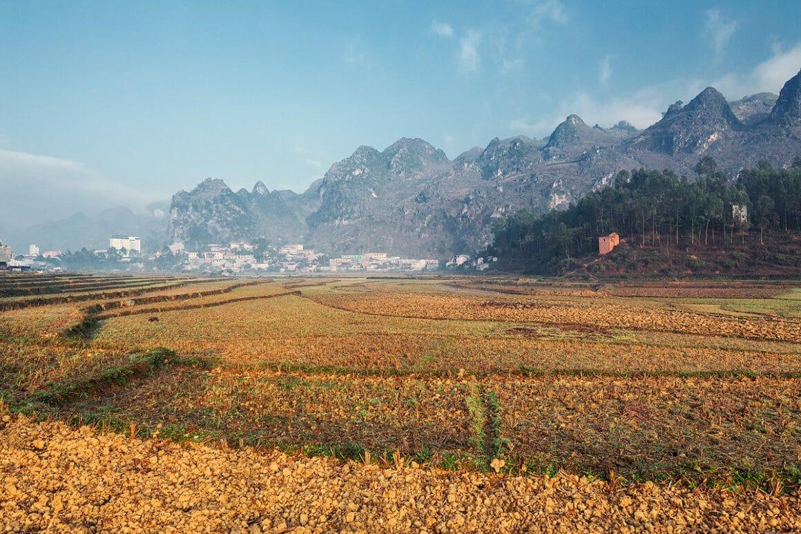 Voici une des impressionnantes photographies de Lukas Furlan : Vue depuis un champs coupé aux tons orangés, au loin sur la gauche se trouve un village et sur la droite une forêt et derrière eux des montagnes. Un tiers de l'image est pris par le ciel bleu.