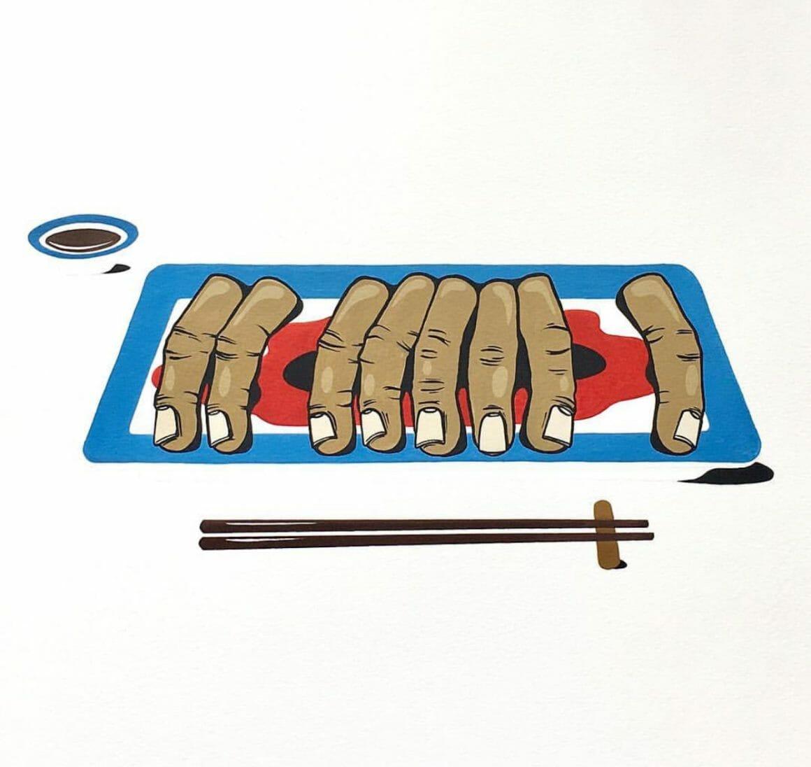 Mygalo, doigts découpés à manger façon rouleaux de printemps.