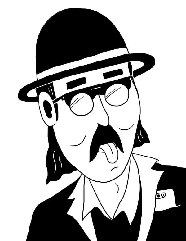 Personnage qui tire la langue et qui porte des lunettes et un chapeau.