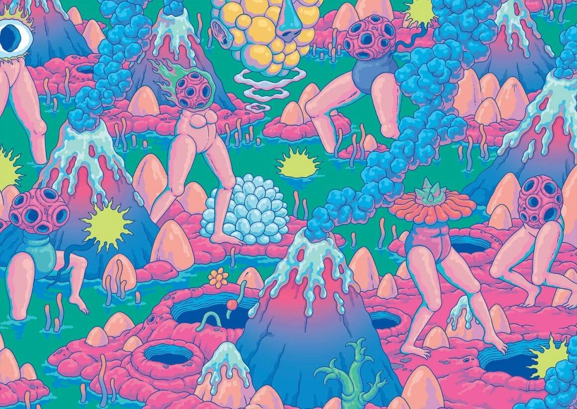 Humanoïdes dans un bain de volcans