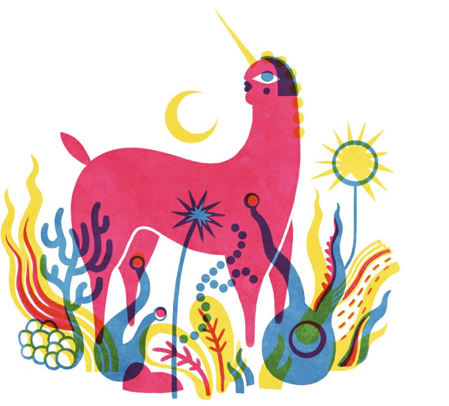 Gol3m, Licorne stylisée rouge dans un décor végétal coloré.