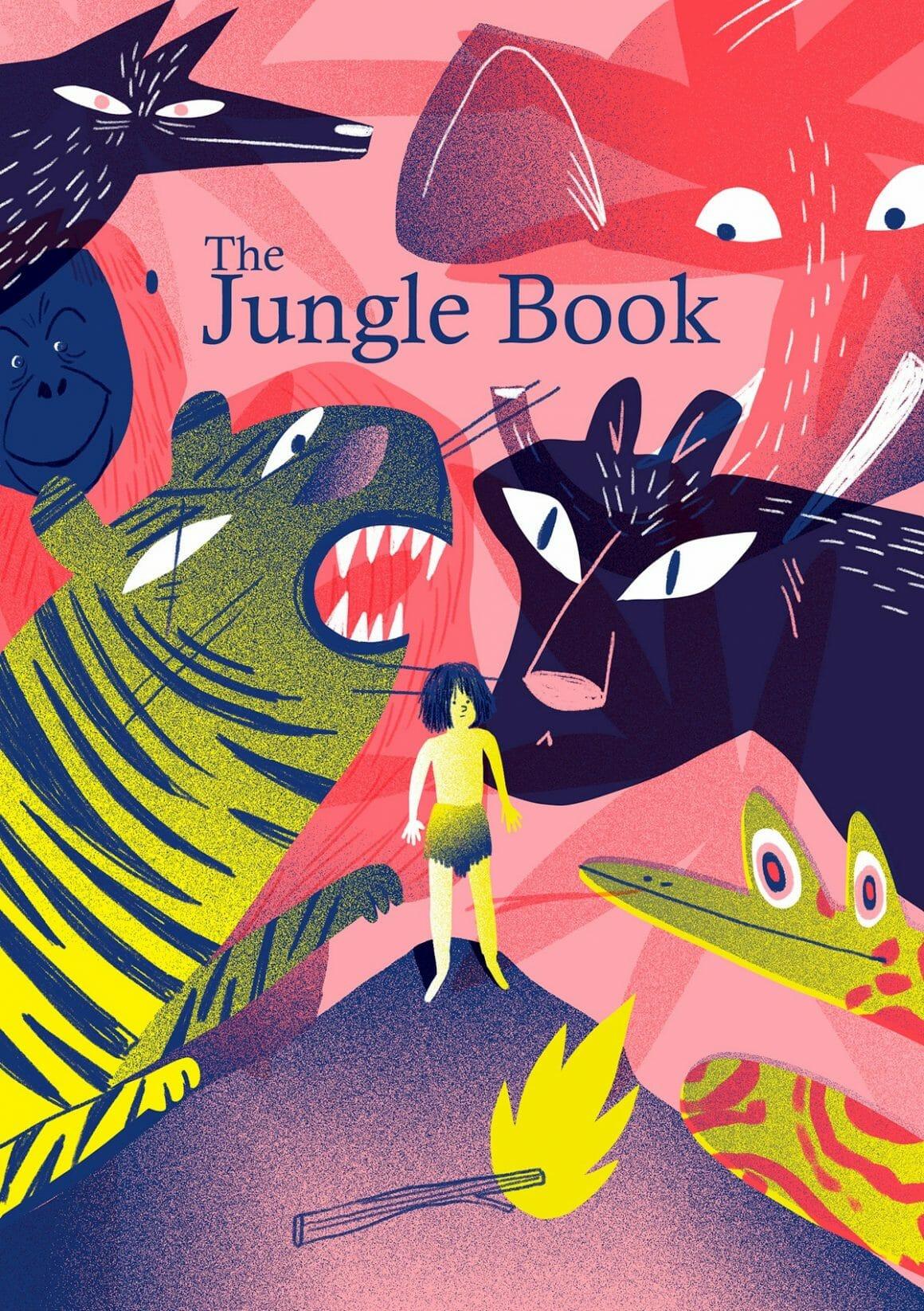 Fan cover de The jungle Book par Genie Espinosa. Un univers composé d'un enfant seul, Mowgli, entouré d'un bestiaire graphique)